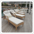 Real teak decking with anti-stain formula